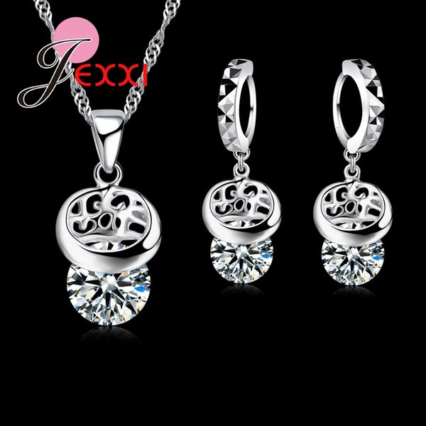 JEXXI Free Shipping Romantic Overlap CZ Jewelry Set 925 Sterling Silver Necklace+Earrings Sets For Wedding Anniversary Gifts