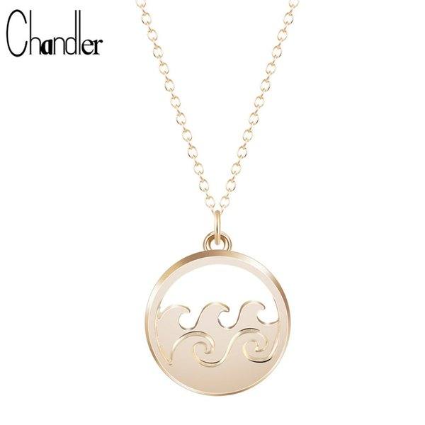 Chandler Ocean Wave Pendant Necklace Beach Charm Inspired Fashion Jewelry Nautical Alloy Chain Collares Accessaries For Women