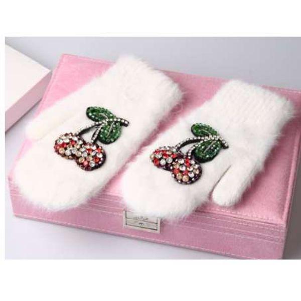 Winter Gloves Luxury Crystal Cherry decoration Rabbit fur gloves For Woman winter gloves girls Mittens
