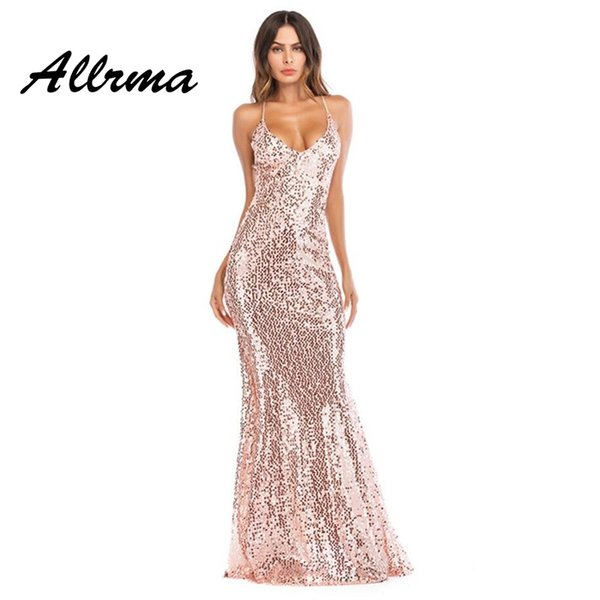 ALLIMA Elegant Backless Sequined Maxi Mermaid Halter Dress Women Evening Party Summer Dress 2018 Sexy Mesh Long Vestidos
