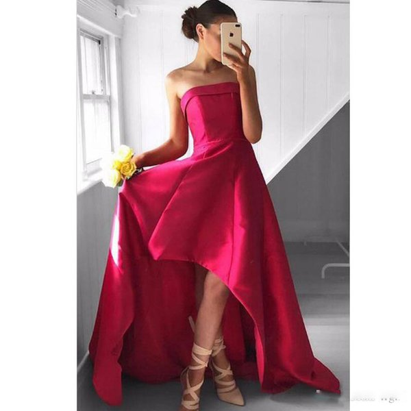 Formal Evening Party Gowns Elegant Fabulous Strapless High Low Fuchsia Pleated Prom Dress A Line vestidos de fiesta
