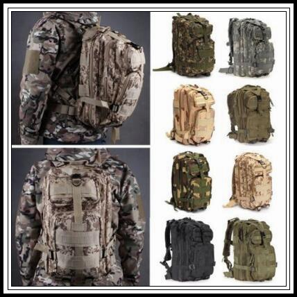best selling 12 Colors 30L Hiking Camping Bag Military Tactical Trekking Rucksack Backpack Camouflage Molle Rucksacks Attack Outdoor Bags CCA9054 30pcs
