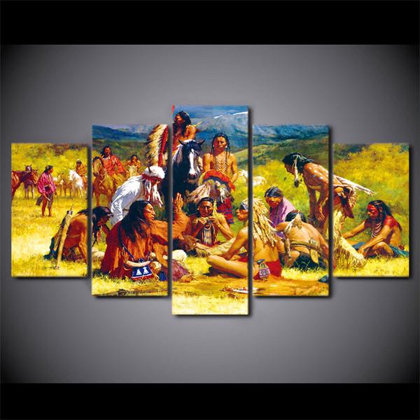 5 Teile / Satz Indianergruppe Leben Leinwand Abstrakte Wandkunst Wohnkultur  Für Wohnzimmer Poster HD Gedruckt Bilder