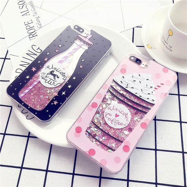 YunRT Glitter Bottle Quicksand Dynamic Phone Case For iPhone X Bling Flowing Love Heart Sequins Cases For iPhone 8 7 6 6s Plus1