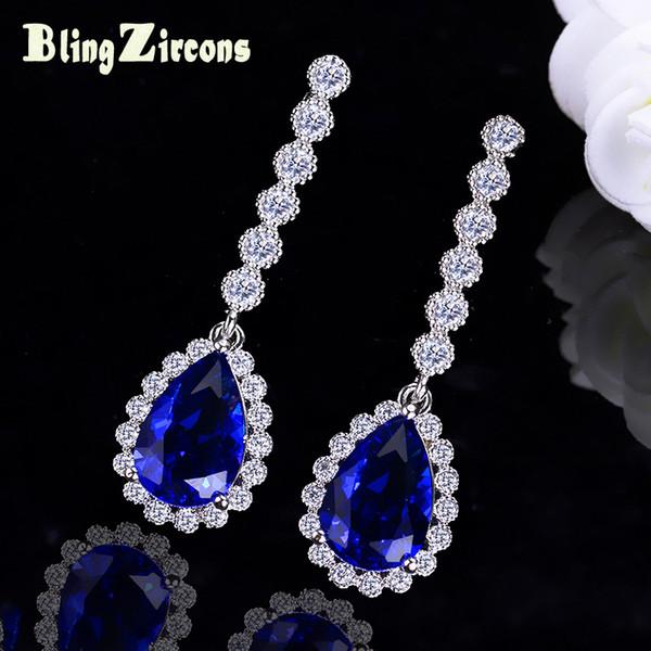 BlingZircons 2018 New Shining Royal Blue Tear Crystal Drop Bridal Wedding Earrings Silver 925 Pin CZ Ear Jewelry For Women E161