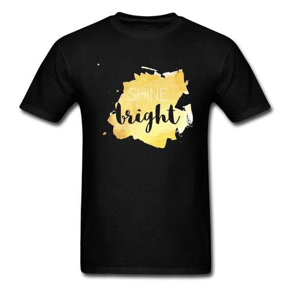 Shine Brilhante Ouro Dominante Projeto de Manga Curta Camisetas 100% Algodão O-pescoço Dos Homens Tops Camisa Única Camiseta Dia de Ação de Graças
