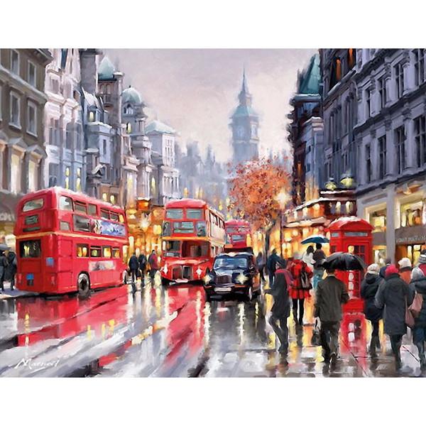 Sin marco autobús romántico Europa paisaje Diy pintura digital por números Moderno arte de la pared pintado a mano pintura al óleo para la decoración del hogar