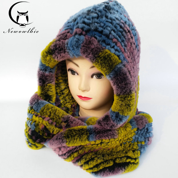 Wholesale- Hat Women 2017 Real Knitted Rex Rabbit Fur Hat Hooded Scarf Long Winter Warm Fur Hat With Neck Collar Scarves