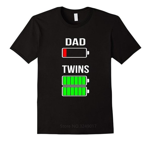 Summer Shirts Tops Cotton Tees Crew Neck Tired Dad Low Battery Twins Full Charge Short-Sleeve Graphic Mens Tees