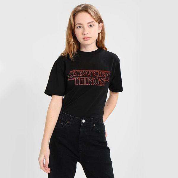 Странные вещи Письмо печати футболка свободная рубашка футболка дамы Письмо печати футболка мода Harajuku повседневная camisetas mujer рубашка NV87 РФ