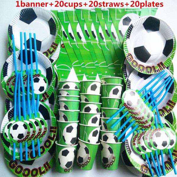 best selling 61pcs banner 20 People kids birthday party football sport boy party decoration sets paper garland plates baby shower supplies