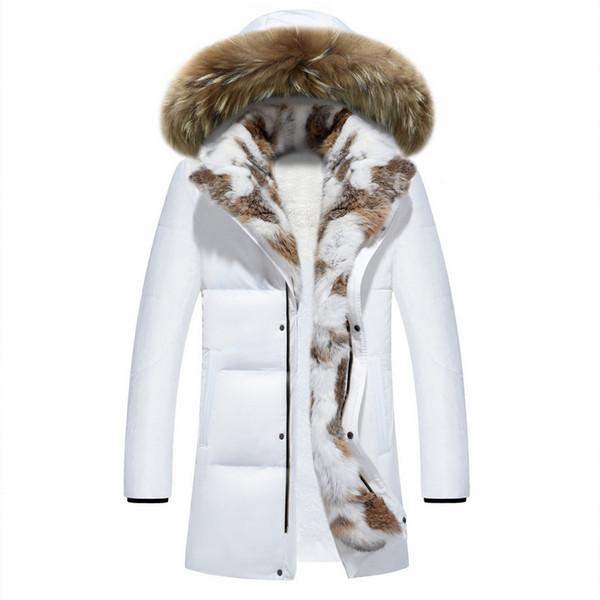 Mens Warm Faux Rabbit Fur Jackets Thicken Warm Coat Slim Fit Hood Collar 2019