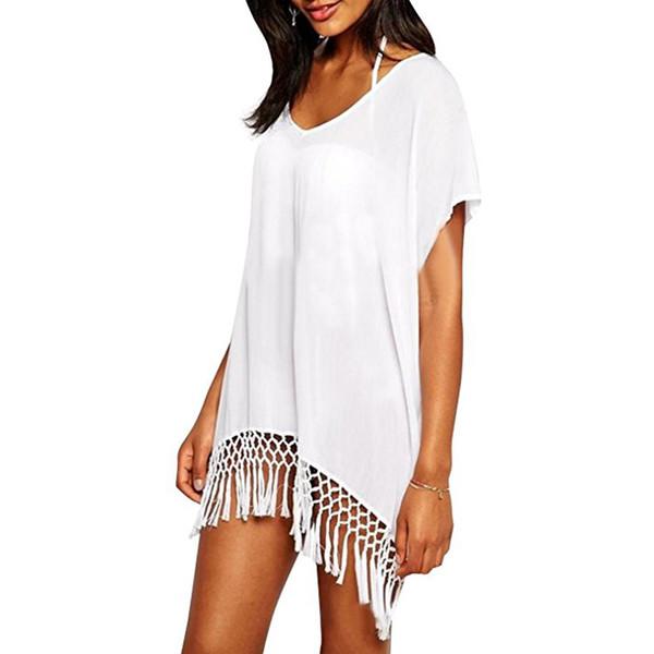 f16f778185b1e Stylish Bright Beachwear Swimsuit Cover Up Dress With Tassel Fringe Chiffon Beachwear  Bikini Swimwear Crochet Free