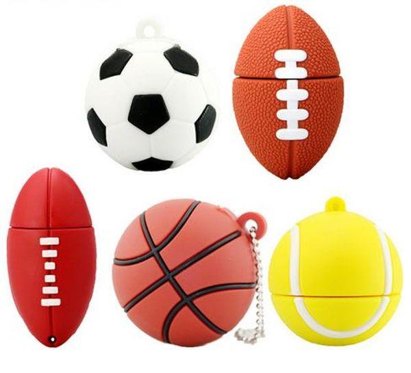 Pendrive Football Clé USB 8GB 16GB 32GB 64GB Bande Dessinée Flash Drive USB Flash 2.0 Clé Mémoire Disque Clé Drive Pour Gift128GBFree Shipping