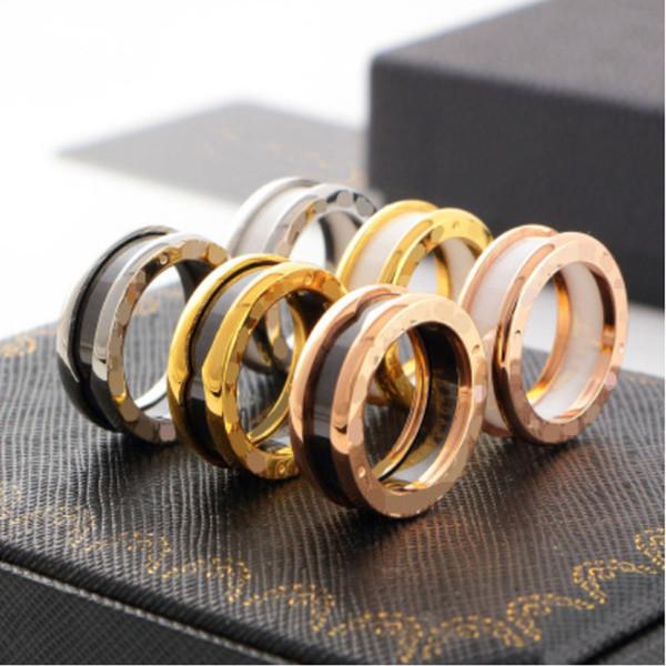 Nueva joyería de moda anillos de acero inoxidable anillos de cerámica hombres y mujeres amantes joyería anillo 2018