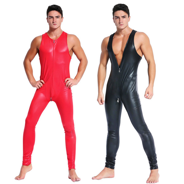Man leather latex catsuit Teddy bodysuit black red shiny Erotic Lingerie Bodysuits Zentai Body Wear One Piece jumpsuit