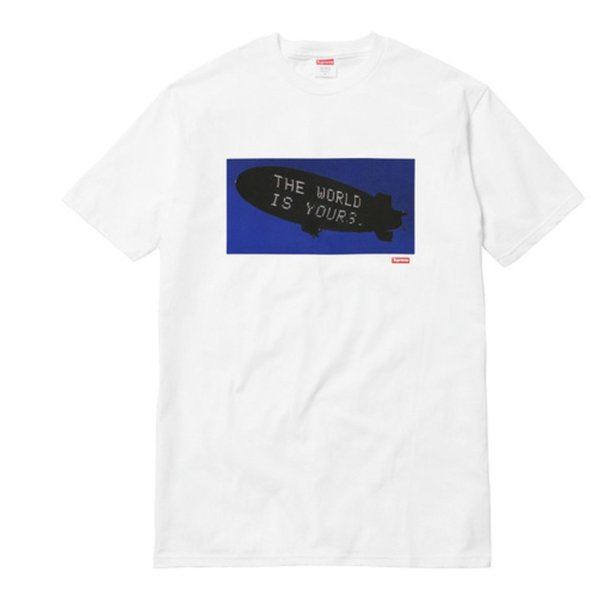 Nuevo upreme Scarface Blimp camiseta blanca The World is Yours XL100% Auténtico Nas 2018 summer new men cotton manga corta