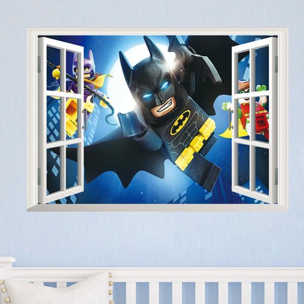 Grosshandel Cartton 3d Fenster Batman Super Gebrochen Wandaufkleber Kinderzimmer Dekoration Film 3d Wandbild Kunst Cartoon Avengers Home Decals Von