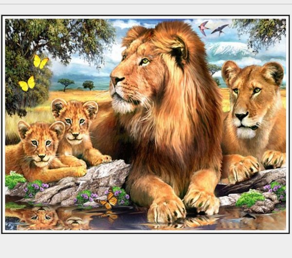 lion diamond painting kit full drill animal family wall art mosaic pictures rhinestone pasted needlework kit gem painted hand craft gift