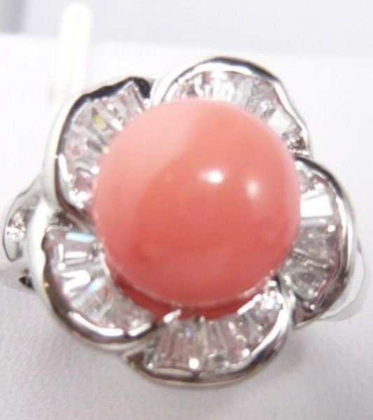 FREE SHIPPING>>>Fine pink sea shell pearl bead 18KGP ring