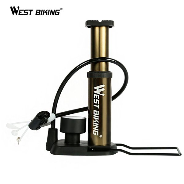 WEST BIKING BIKE Foot Activated Floor Pump with Gauge Cycle Air Pump Mini Portable Portable 80PSI Bike Bicycle Accessories