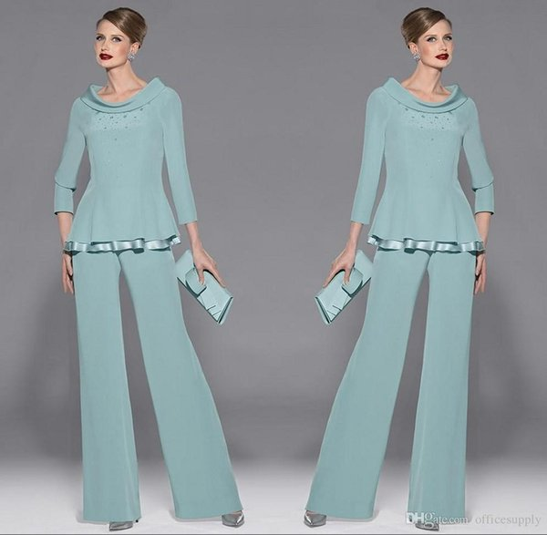 Elegant Mother's Suit Beaded Mother Of The Bride Pant Suits Two Pieces Plus Size Formal Special Occasion Wear