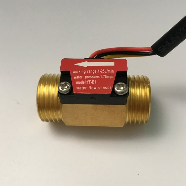 Brass Copper YF-B1 Water Flow Sensor 1.75Mpa G1/2 Pulse Hall Flow Meter Switch 1-25L/Min