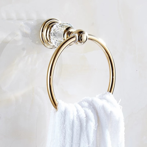 best selling bathroom Towel Rings Luxury Crystal Brass Gold Towel Holder Bath Towel Bar Bathroom Accessories Home Decoration