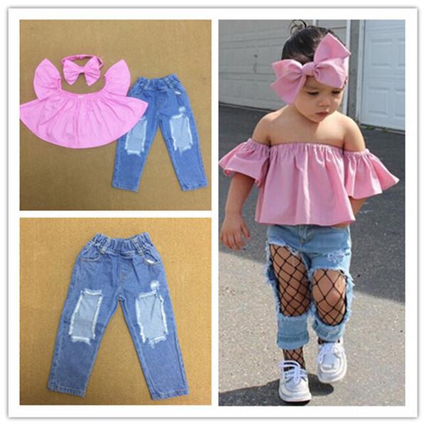 Mode Baby Mädchen Boutique Outfits Kleidung Sommer Kind Shirts Kleider + Jeans Denim Hose + Stirnbänder Trainingsanzug Anzug für Kinder Set Kleidung