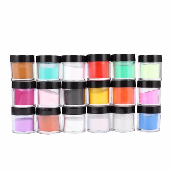 18 Farben Nagel Glitter Acryl UV Pulver Staub Gem Polnischen Nagel Werkzeuge Acryl Glitter Powder Builder Art Set Kits Dekorationen