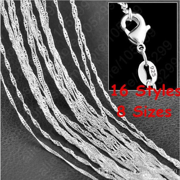 """16""""/18""""/20""""/22""""/24""""/26""""/28""""/30"""" Singapore Chain 925 Sterling Silver Beautiful Water Wave Necklace With Lobster clasps 2149"""