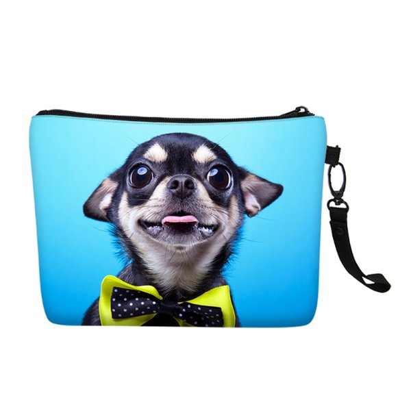 Fashion Designer Women Cosmetic Bags Cute Husky Dog Animal Canvas Makeup Case Girls Toiletry Travel Necessary Storage Wash Pouch