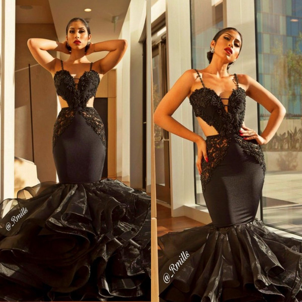 Spaghetti Strap Black African Prom Dresses 2020 Sexy Hollow Out Cutaway  Sides Backless Lace Top Mermaid Long Girls Evening Dresses Senior Prom  Dresses