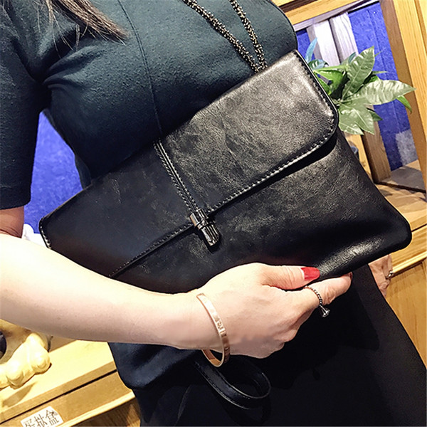 Fashion Black Color Lock Clutch Purse Soft PU Leather Envelope Wallet Women Banquet Modern Wrist Band Bag for Birthday Gift Bags