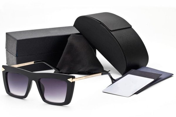 Fashion Square Occhiali da sole Italia Brand Designer Metal Arrow Vintage Summer Occhiali da sole per donna Uomo Eyewear con custodia