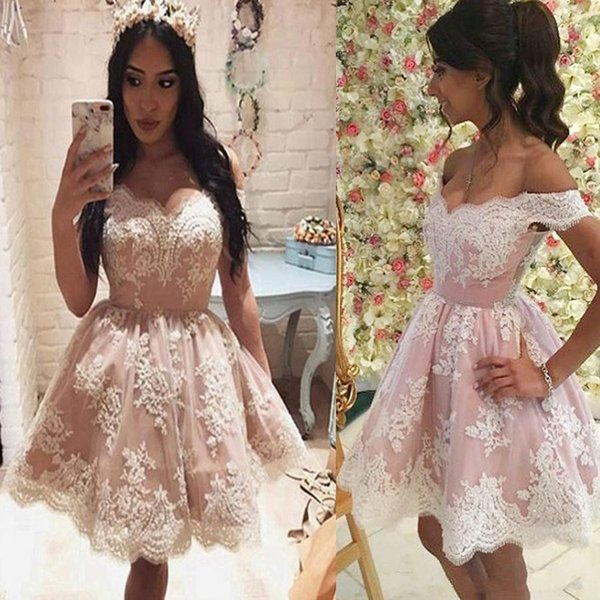 Pink Lace Homecoming Dresses for Juniors Applique Off Shoulder Tulle Plus Size Short Prom Dress Party Ball Gowns Graduation Club Wear Cheap