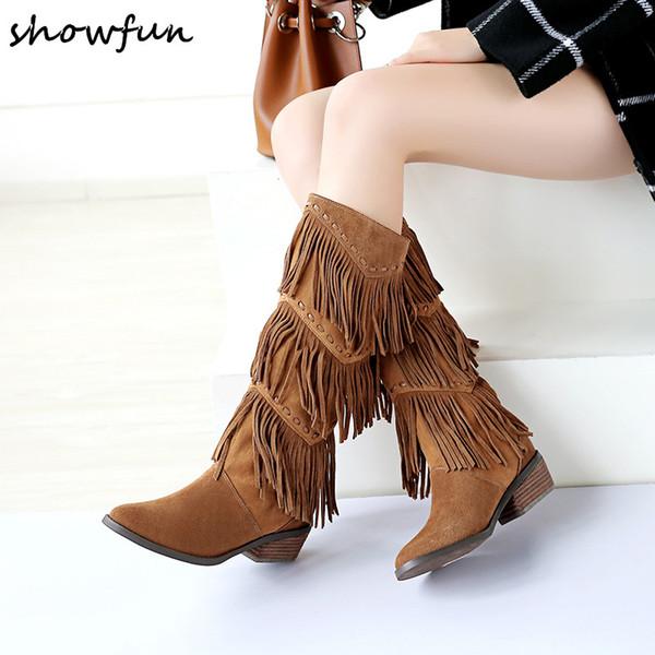 Botas altas hasta la rodilla de flecos de cuero genuino de gamuza de las mujeres 2018 Invierno Nuevas botas altas atractivas Med Heel Zapatos largos y cómodos de mujer