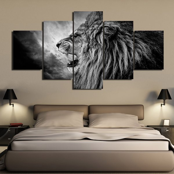 5 Pcs/Set HD Printed black and white Roaring Lion Painting Canvas Print room decor print poster picture canvas Free shipping/NY-6269