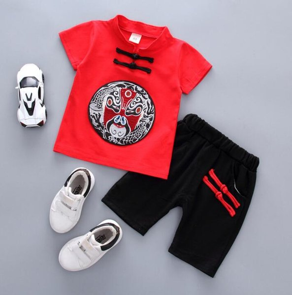 2018 Summer China Style Baby Boys Clothes Suit Embroidery Kids Cotton T-shirt + Shorts Boy 2pcs Set Children Outfits 13964