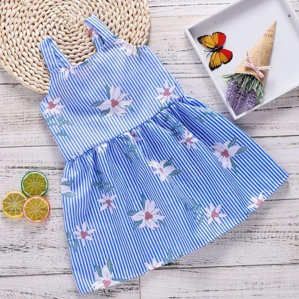 Floral Newborn Baby Girl Kid Strap Stripe Backless Dresses Sleeveless Ball Gown Dress Children Cotton Regular Clothes Sundress
