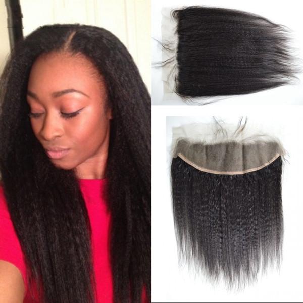 Кружева фронтальный кудрявый прямой монгольский человеческих волос 13x4 естественный цвет кружева фронтальная закрытие с ребенком волос G-легко