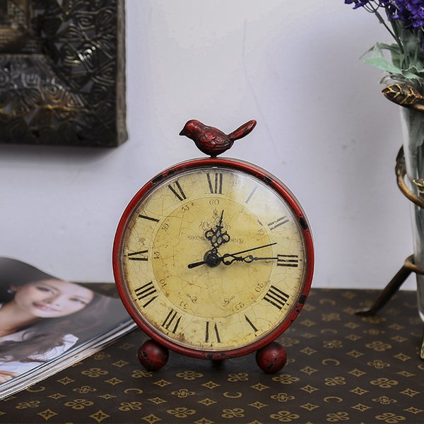 TUDA Free Shipping 6inch American Pastoral Style Table Clock Creative Bird Metal Round Table Clock for Living Room Desk