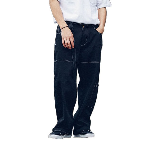 khaki black men bottoms loose style cargo pants wide opening leg hip hop hipster fashion streetwear brand clothes kpop trousers