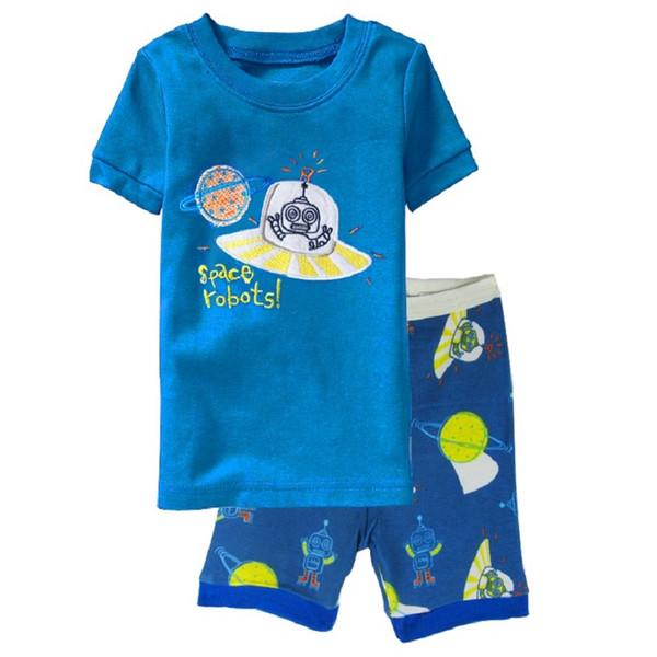 Космические роботы Детские пижамные комплекты Летняя короткая пижама Одежда для мальчиков Пижамный костюм Девушки Пижамы Ночная рубашка Хлопковые футболки Брюки