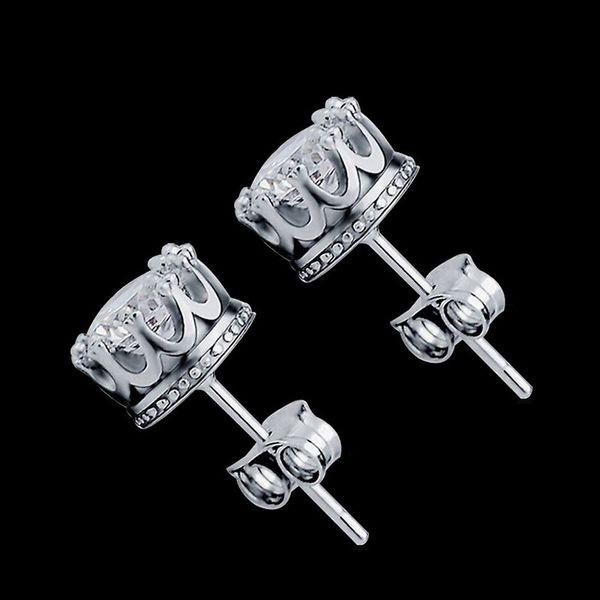 Neue Ankunfts-Kronenohrringe beste Freunde 18K weißes Gold überzogene Ohrringe großer Diamant-Ohrring für Frauen weiße Bolzenohrringe Zircon-Ohrringe