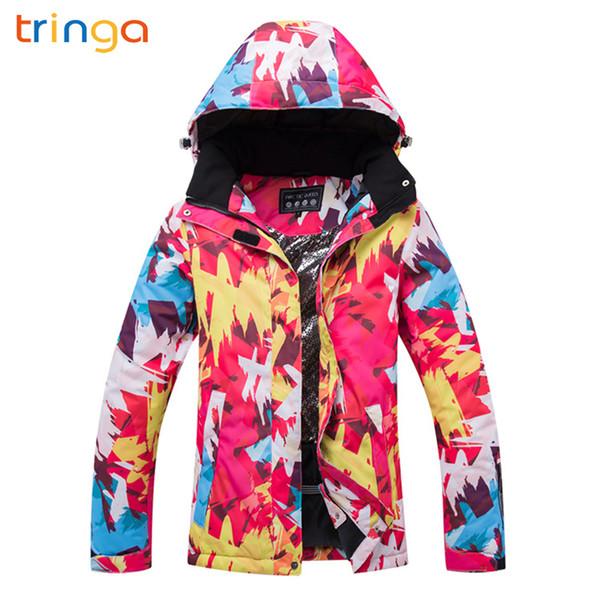 TRINGA 2018 New Hot Ski Suit Women High Quality -30 Female Windproof Waterproof Winter Snow Jacket Snowboarding Suits