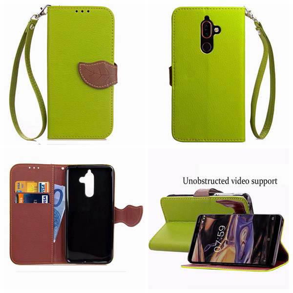 Leaf Wallet Leather For NOKIA 7 Plus Galaxy (J6 J4 J2 Pro)2018 Buckle Litchi Bright Flip Cover Cash Pocket Pouch Fashion Luxury Phone Purse