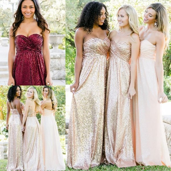 Bling Bridesmaid Dress For Weddings Rose Gold Burgundy Sequins Cheap Party Dress Sweetheart Plus Size Formal Maid of Honor Gown Floor Length