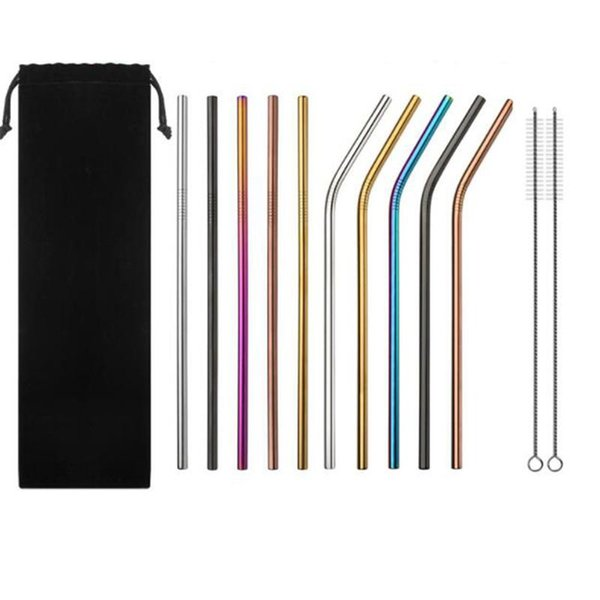 Colorful metal Drinking Straw 21.5cm Straight Bent Reusable stainless steel Straws Juice Party Bar Accessories