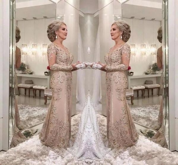 2018 Elegant Sheer Long Sleeves Spitze Meerjungfrau Mutter der Braut Bräutigam Kleider Applique Perlen Bodenlangen Mutter Kleider für Hochzeiten BA7931
